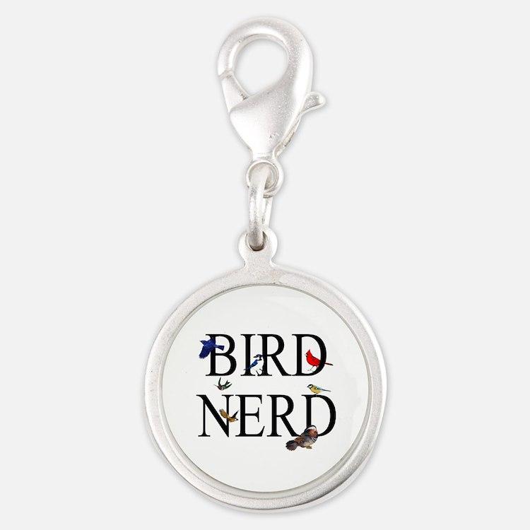 Bird Nerd Silver Round Charm