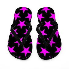 Pink Stars On Black Flip Flops