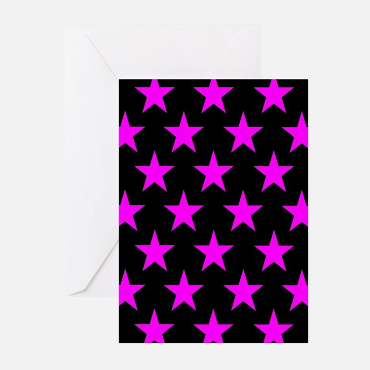 Pink Stars On Black Greeting Cards