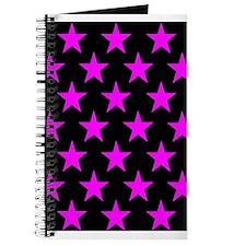 Pink Stars On Black Journal