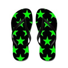 Green Stars On Black Flip Flops