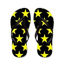Yellow Stars On Black Flip Flops