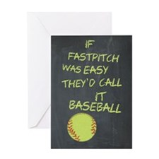 Chalkboard If Fastpitch Was Easy Greeting Cards