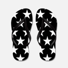 White Stars On Black Flip Flops