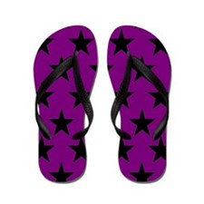 Black Stars On Purple Flip Flops