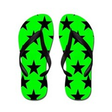 Black Stars On Green Flip Flops