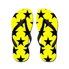 Black Stars On Yellow Flip Flops