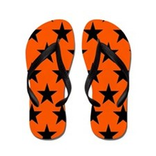 Black Stars On Orange Flip Flops