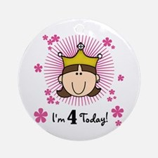 Princess 4th Birthday(brown) Ornament (Round)