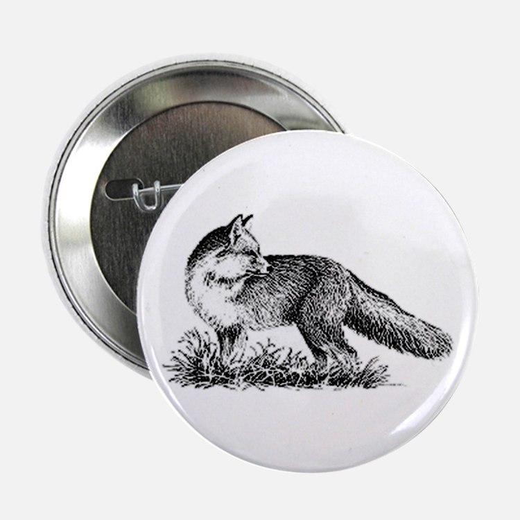 "Red Fox (illustration) 2.25"" Button"