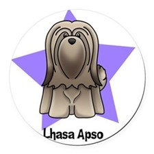 Anime Star Lhasa Apso Round Car Magnet