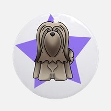 Anime Star Lhasa Apso Round Ornament