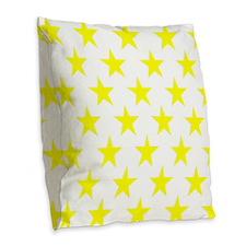 Yellow Stars On White Burlap Throw Pillow