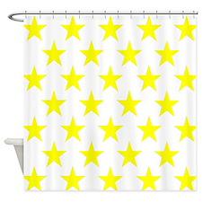 Yellow Stars On White Shower Curtain