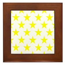 Yellow Stars On White Framed Tile