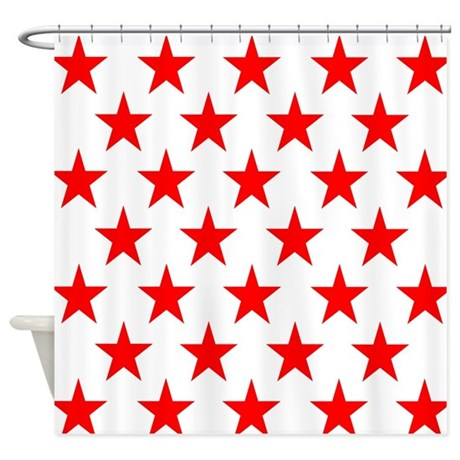 Red Stars On White Shower Curtain By Cuteprints