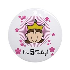 Princess 5th Birthday(brown) Ornament (Round)