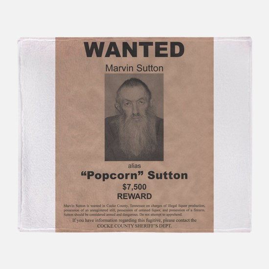 Popcorn Sutton Wanted Poster by McMinnie Throw Bla