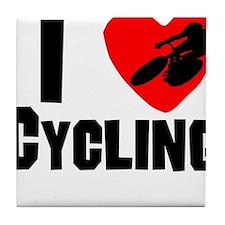 I Heart Cycling Tile Coaster