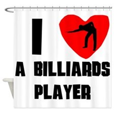 I Heart A Billiards Player Shower Curtain