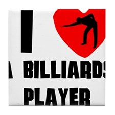 I Heart A Billiards Player Tile Coaster