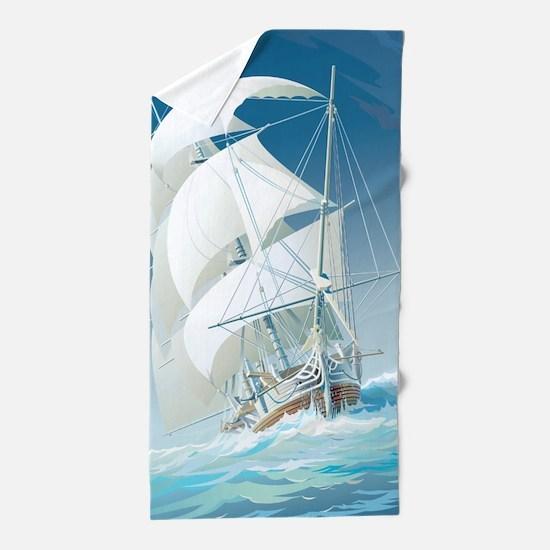 Sailing Ship Beach Towel