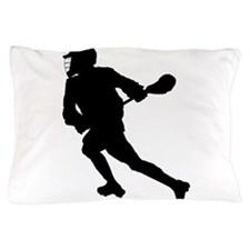 Lacrosse Player Silhouette Pillow Case