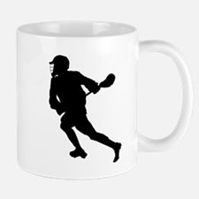 Lacrosse Player Silhouette Mugs