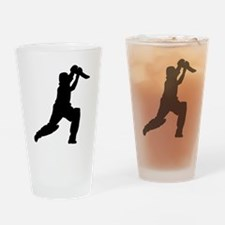 Cricket Player Silhouette Drinking Glass