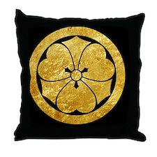 Sakai Mon gold button Throw Pillow