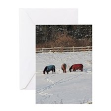 Horses in Snow 1 Greeting Cards