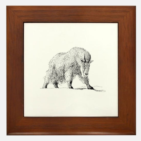 Mountain Goat (illustration) Framed Tile