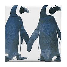 Penguins Holding Hands Tile Coaster