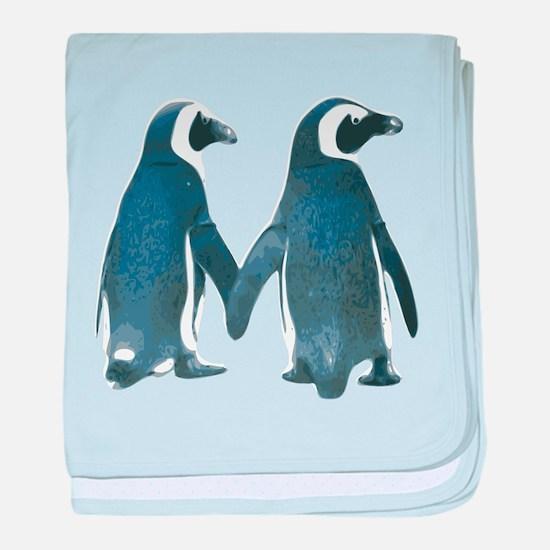 Penguins Holding Hands baby blanket