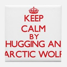 Keep calm by hugging an Arctic Wolf Tile Coaster