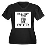 Will Knit for Beer Women's Plus Size V-Neck Dark T