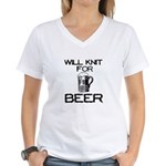 Will Knit for Beer Women's V-Neck T-Shirt