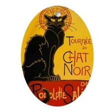 Chat Noir Vintage Oval Ornament