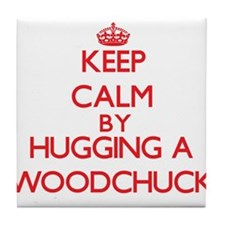 Keep calm by hugging a Woodchuck Tile Coaster