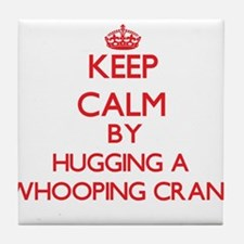Keep calm by hugging a Whooping Crane Tile Coaster