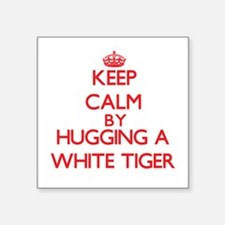 Keep calm by hugging a White Tiger Sticker