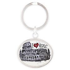 I love Rome  Oval Keychain