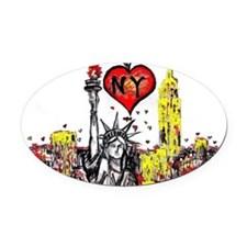 I love NY Oval Car Magnet