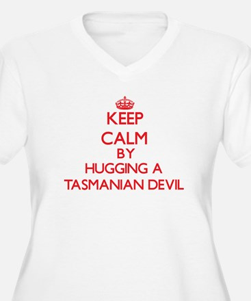 Keep calm by hugging a Tasmanian Devil Plus Size T