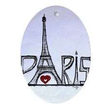 Paris with love Oval Ornament