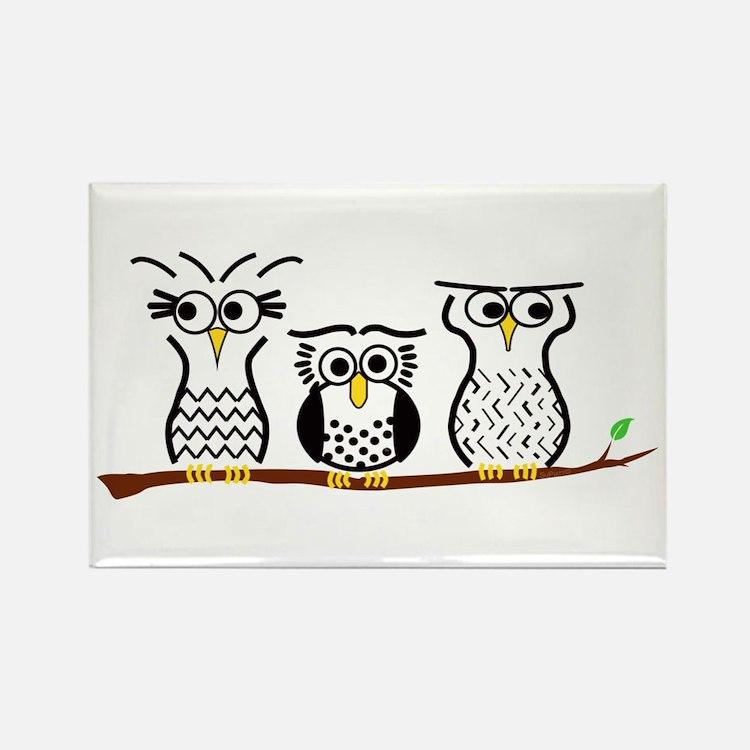 Three Little Owls Rectangle Magnet