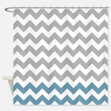 gray and blue gray chevrons Shower Curtain