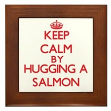 Keep calm by hugging a Salmon Framed Tile