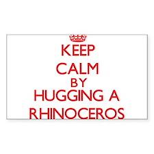 Keep calm by hugging a Rhinoceros Decal