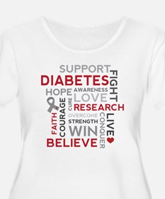 Support Diabetes Research Awareness Plus Size T-Sh